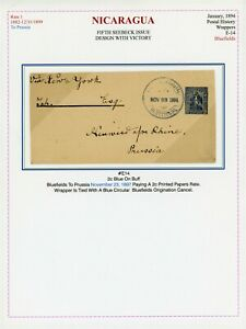 Nicaragua Postal Stationery Wrapper - H&G #14 1894 2c BLUEFIELDS - NYC - PRUSSIA