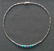 STERLING SILVER TURQUOISE ENAMEL & MARCASITE CHOKER NECKLACE 17