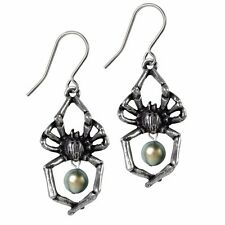 Glistercreep Spider Exoskeleton Faux Pearl Drop Earrings Alchemy Gothic E397