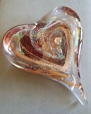 Rynkiewicz Signed Murano Glass Heart ♡ Paperweight swirled gold