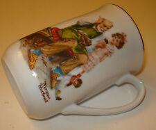 "Norman Rockwell Museum 4 1/8"" Coffee Mug The Cobbler 1982 Porcelain Cup GoldTrim"
