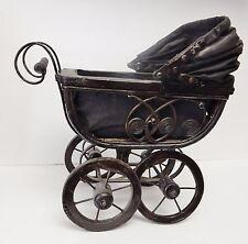 "Vintage Doll Carriage Stroller Pram Baby Buggy Wicker Metal Canvas Wood 13""X13"""