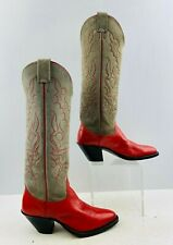 Ladies Nocona Red/Gray Leather Round Toe Cowgirl Buckaroo  Boots Size: 5 C