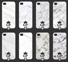 White Marble Phone Case +FREE iPhone Stand Black Pink Initials Cheap Crown