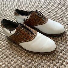 New listing Footjoy Premiere Classics Dry 10.5E White Brown Faux Croc Golf Shoes Waterproof