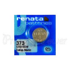 1 X Renata 373 Argent Oxyde Batterie 1.55V SR916SW Montre SR68 0% Mercure
