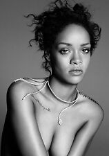 Rihanna Poster Art Print Black & White in Card or Canvas