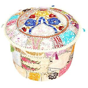 Bohemian Ottoman Pouffe Cover White Cotton Patchwork Embroidered Round 16 Inch