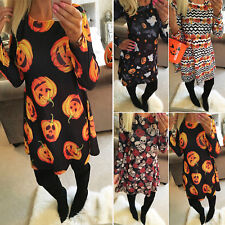 Womens Pumpkin Skull Fancy Costumes Ladies Party Swing Dresses Tunic Longtops