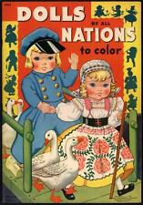 """UNCOLORED """"Dolls of All Nations to Color"""" #3424 Merrill 1940 (4225)"""