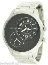 NEW-GUESS SILVER TONE S/STEEL+BLACK DUAL,MULTI TIME ZONE DIAL WATCH U13616G1