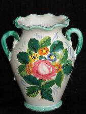 Vtg Signed Vanro Italy Majolica H/Painted Flowers Shabby Cottage Chic Sml Vase