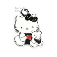 HK23// BRELOQUE CHARM PERLE / HELLO KITTY OURSON NOIR / CREATION BIJOUX BRACELET