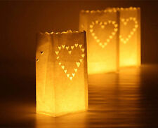 Big Heart Luminary Paper Candle  Lantern Bags Wedding Party Garden BBQ Xmas x 10
