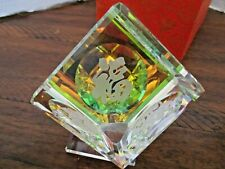 Chinese Good Luck Crystal Holographic Paperweight - Mint in Box!