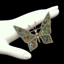MEXICO STERLING Cuernavaca Silver Vintage Abalone Butterfly Brooch Pin Swirls