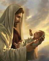 """Catholic print picture  -  JESUS  WITH BABY 300  -  8"""" x 10"""" ready to be framed"""