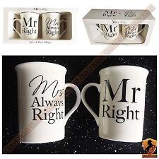 Señor Derecho & la señora siempre derecho Taza de Té Tazón de Café Taza de Cerámica Conjunto de regalo de Navidad Nuevo