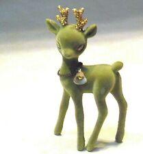 Vtg. Flocked Green Deer Reindeer Sleepy Eye Gold Glitter /Bell