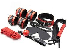 Red Faux Leather Fur Dungeon Fetish Restraint Kit Rope Whip Collar Blind Fold
