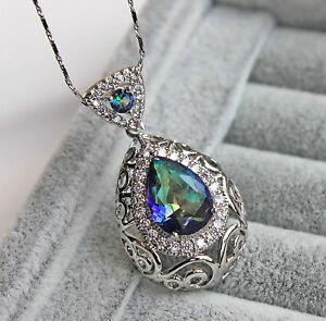18K White Gold Filled - Blue MYSTICAL Oval Topaz Hollow Vine Pendant Necklace