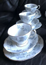 ROYAL ALBERT SILVER MAPLE TEA SET (trios) 9 Piece Cup, Plate, Saucer