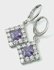 Women's 18 Carat White Gold Plated Purple Zircon drop dangle Huggie Earrings