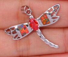 Stunning Like Topaz & Lab Opal Silver Dragonfly Pendant Chain Animal Nature