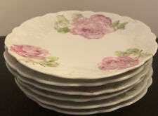 "6 Unmarked White With Pink Roses China 6"" Salad/ Luncheon Plates"