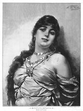 Odaliske, gefesselte Sklavin, Erotik, Original-Holzstich von 1890
