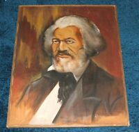 FREDERICK DOUGLASS AFRICAN AMERICAN PAINTING ANTI SLAVERY ABOLITIONIST VINTAGE