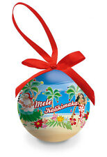 Hawaiian Christmas Glossy Ornament Hula Girls Honeys Mele Kalikimaka Hawaii NB