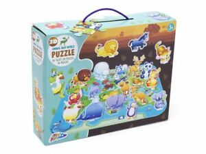 Grafix 3D Animal World Map Puzzle - Jigsaw -  Ages 3 +  - New