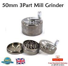 50mm 3 Part Herb Tobacco Grinder Crusher Mill Pollinator Aluminium MILL GRINDER