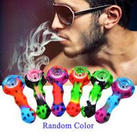 Portable Organic Silicone Tobacco Herb Pipe with Glass Bowl Smoking Pipe Random
