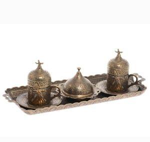 Ottoman Turkish  Metal 2x Two Peorson Coffee Set Cups Saucers Bowl Lids Tray