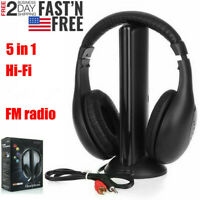 5 in 1 Headset Wireless Headphones Cordless RF Earphones for PC TV DVD MP3 MP4