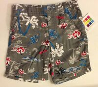 NEW Healthtex Infant Boys Gray Tropical Print Pull On Chino Shorts Size 12M 24M