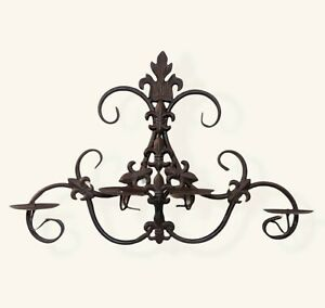 4-Arm Pillar Candle Holder Wall Candelabra Sconce Brown Wrought Metal