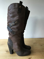 REPLAY LADIES BROWN LEATHER KNEE HIGH BOOTS UK3