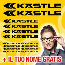 KIT KASTLE 14 ADESIVI PRESPAZIATI BICI CICLISMO STICKERS DECAL + NOME GRATIS