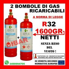 R32 GAS REFRIGERANTE IN 2 BOMBOLE RICARICABILI DA 1KG 1600GR NETTO