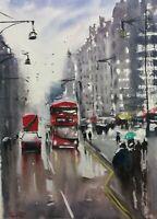 London street Fine Art Original Watercolour Painting Red Bus cityscape Nº151