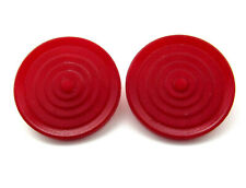 Vintage Carved Red CASEIN Galalith Geometric Sewing Button Matching Set Lot of 2