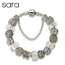 Sara Butterfly Charm Bracelet Silver Plated European Glass Beads - Silver