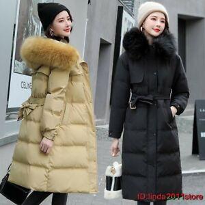 Women's Winter Parka Coat Long Down Cotton Warm Hooded Jacket Slim Outwear+Belt