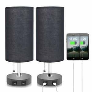 Set of 2 Black Dual USB Table Bedside Nightstand Desk Lamp With Black Lampshade