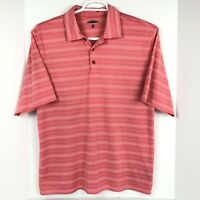 Pebble Beach Performance Golf Polo Shirt Men's L Pink Striped Short Sleeve