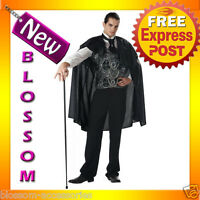 C305 Mens Victorian Vampire Count Dracula Scary Fancy  Halloween Costume Outfit