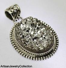 SILVER DRUZY PENDANT 925 STERLING SILVER ARTISAN JEWELRY COLLECTION Y219B